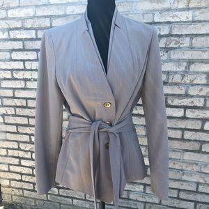 Grey Double breasted tie waist blazer